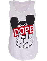 Womens Dope Slogan Mickey Mouse Finger Printed Stretch Fit Ladies Round Scoop Neckline Sleeveless T-Shirt Vest Top