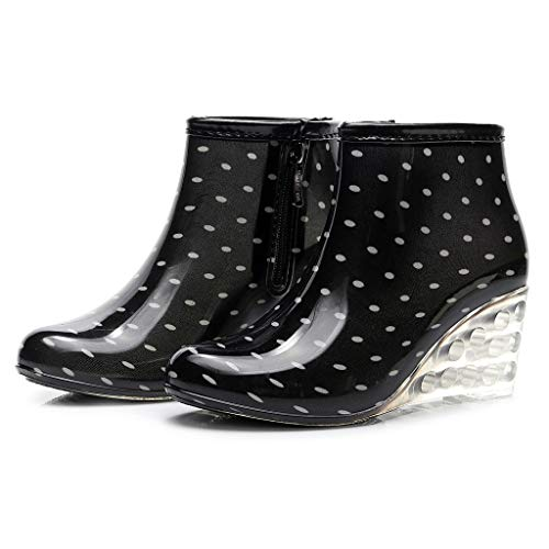 Riou Gummistiefel Damen Kurzschaft Outdoor Wasserdicht rutschfest Wedge Keilabsatz Mode Casual Regenstiefel Regenschuhe Rain Boots