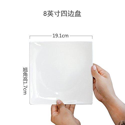 MLGG Plaque Carrée en Porcelaine Blanche Plaque en Céramique, 8 Pouce Quatre Chargé
