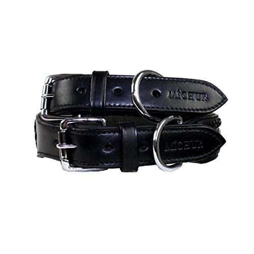MICHUR MARIA SCHWARZ, Hundehalsband, Halsband Leder, Lederhalsband, SCHWARZ, in verschiedenen Größen erhältlich - 5