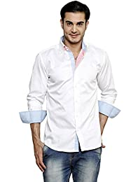 DAZZIO Solid Slim Fit White Casual Shirt (Please Refer Size Chart)