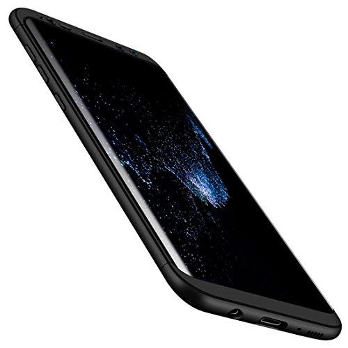 Laixin 3 in 1 Handyhülle für Samsung Galaxy S7 Hülle + Panzerglas, Ultra Dünn PC Plastik Anti-Kratzen Schutzhülle Schutz Case Cover mit Displayschutzfolie, Schwarz (Schwarz Bling Mit Anmerkung Fällen 3)