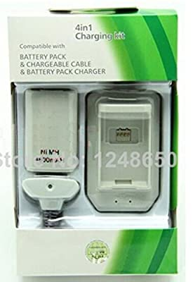 TheMax® 4-in-1 Charging Kit with Rechargeable (4800mAH) Battery for Xbox 360 Controller in White by QRH