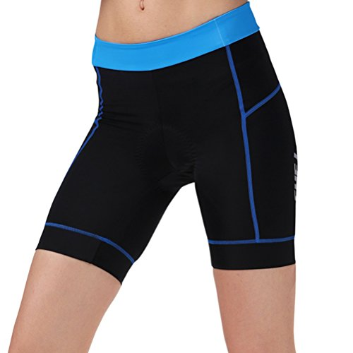 Zhhlinyuan Quality Premium Women's Cycling Shorts Soft Padded Bike Bicycle Shorts Blue