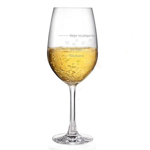 """Copa de vino Leonardo con grabado """"Día bueno - Día malo - Mejor no preguntes"""" 365 ml + copa de vino blanco + copa de vino tinto"""