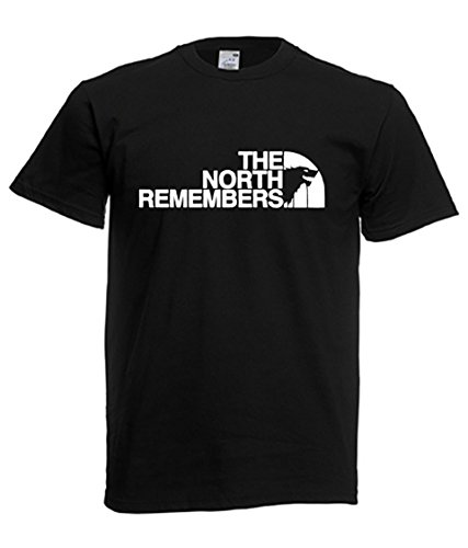 Game of thrones - t-shirt the north remembers, uomo donna (l, nero)