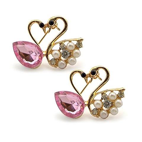 Arty Cristal, Diamante et perles Broche coeur Cygnes dans un Cadre d'or Couleur - ajoute une touche de style à votre tenue - Lot de