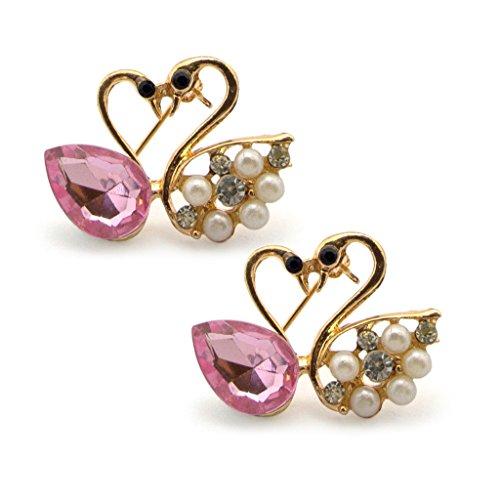 Arty Cristallo, Diamante e perle Cigni cuore spilla in un ambiente d'oro a colori - aggiunge un tocco di stile alla vostra attrezzatura - Confezione da