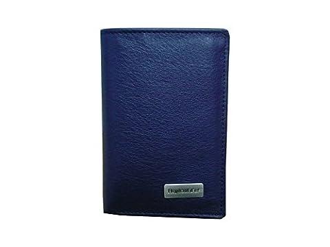 Petit portefeuille, porte cartes, en cuir vachette bleu mat ELEPHANT
