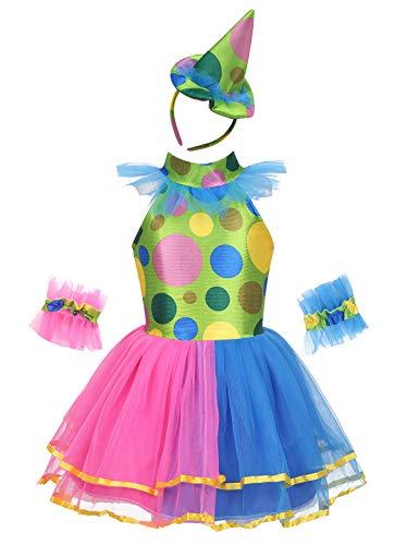 Tiaobug Mädchen festliches Tutu Kleid + Hut + Armbänder Clown Kostüm Fasching Karneval Outfits Verkleidung Sets Bunt 122-128/7-8Jahre (Kostüm Clown Tutu,)