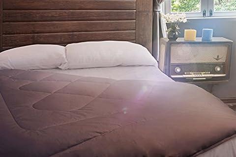 SWEET DREAMS HOME - Luxus 3 Stück Extra Doppelbett-größe (220 x 250 cm; 550 gr/m2) 100% Peruanisch Royal Alpaka Bettdecke Deckbett mit Peruanisch Pima Baumwollsatin 600-gewinde, Hypoallergen, Thermo, Organisch, Zweiseitig Braun/ Weiß