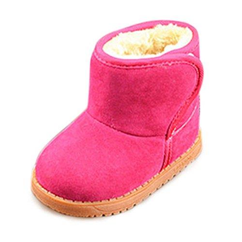 Fortuning's JDS Bambini Unisex velcro Classico doposci invernali Stivaletti caldi stivali corti (Gomma Da Masticare Rosa Pelle)