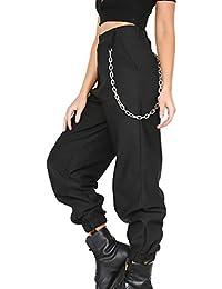 Byqny Mujer Pantalones Harem Sport Deportivos Sueltos De Color Sólido  Pantalones De Cierre Cintura Alta Hip Hop… 94031f3724f