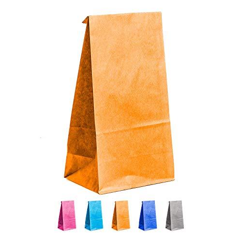 (25 Stück Papiertüten | Orange | Maße 19x4,5x12cm | Partytüten | Geschenktüten Kindergeburtstag | Mitbringsel | Candy Paper Bags | Candy Bag | Candy Bar | DIY Advendskalender)