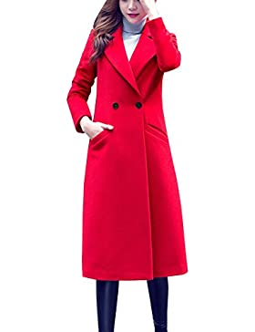 Donna Invernale Cappotto Lungo Manica Lunga Elegante Trench Blazer Giacca Parka Outwear