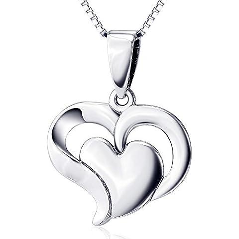 Plata de ley 925para mujer con colgante de corazón doble, 18