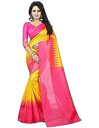 Pramukh Store Cotton Silk Saree With Blouse Piece (Pink, Yellow_Free Size)