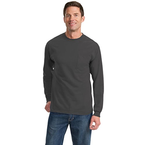 Port & Company® - Long Sleeve Essential Pocket Tee. PC61LSP Charcoal S