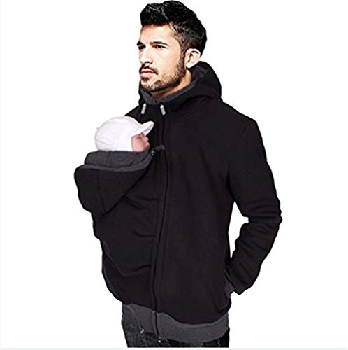 Mens Kangaroo Fleece Zip Up Maternity Pullover Sweatshirts Hoodie Jackets Dad and Baby Carrier Coats(Size M)