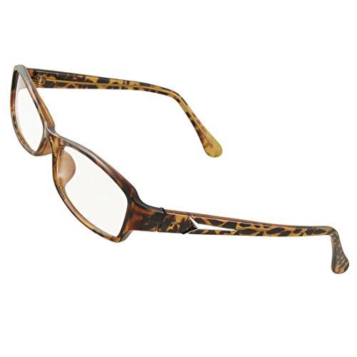 DealMux Frauen Männer Brown-Leopard-Muster Full Frame Multi beschichtete Linse Plain Gläser