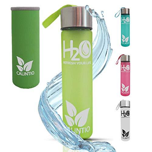 Calintio Designer Trinkflasche aus Glas [400ml] - BPA frei, auslaufsicher und perfekt für unterwegs - hochwertige Glasflasche mit Neopren Schutzhülle