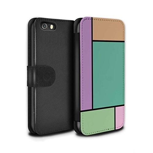 Stuff4 Coque/Etui/Housse Cuir PU Case/Cover pour Apple iPhone 5/5S / 5 Carreaux/Rouge Design / Carreaux Pastel Collection 5 Carreaux/Turquoise