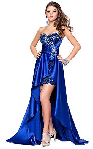 Lemandy Robe de soirée brillante avec jupe asymétrique Bleu royal