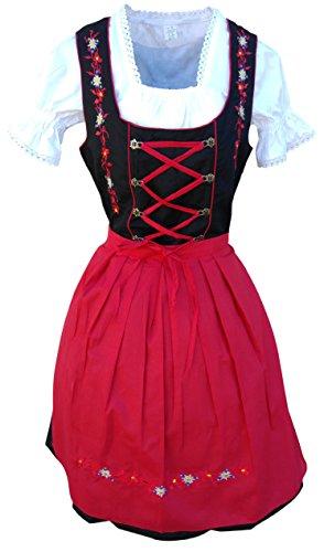 Di06rs Mini Dirndl, 3 teiliges Trachtenkleid in schwarz rot, Kleid mit Bluse und Schürze, Rocklänge 47-58 cm, Gr. 46