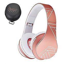 PowerLocus Bluetooth Over-Ear Kopfhörer, Kabellos Stereo Faltbare Kopfhörer Kabellose und Kabel-Kopfhörer mit Integriertem Mikrofon, Micro SD/TF, FM für Handys/iPad/Laptops & PC (Rose Gold)