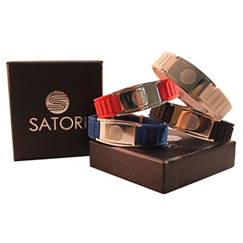 4 in 1 Satori Negative Ion Band, Germanium, Silicone,Charged With Negative Ions, The Ionic Wristband And Stylish Therapy Bracelet, Ideal Gift For Men And Women