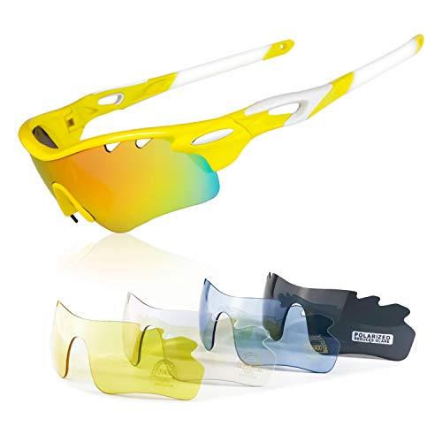 19d9d22fd8 JBeard Gafas Deportivas con Lentes Polarizadas y Espejo para Ciclismo MTB  Running Gafas de Bicicleta UV
