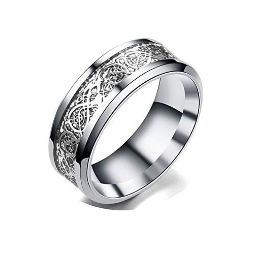Anwaz Edelstahl Ringe Herrenringe Drachen Muster Gold Grau Silber Vertrauensring Antragsringe Gr.60 - Gemütliche Drachen Kostüm