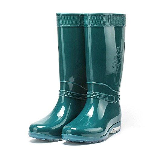 Frühling Sommer Mode Frauen regen Stiefel , green , 40 (Hunter Frauen Kurze Regen Stiefel)