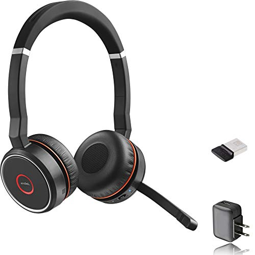 Jabra Evolve 75 Bluetooth Headset Bundle | UC Version | Active Umweltfreundliche Abbrechen | Bonus AC Adapter und USB-Dongle | kompatibel mit Softphones, Smartphones, PC/Mac Jabra Bluetooth-adapter