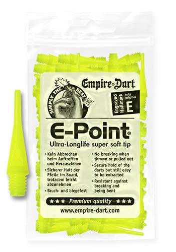 Empire Dart Softdartspitzen, E-Point, 2BA, kurz, Neongelb, 100 Stück, 20689