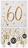 Amscan / Santex Partyset zum 60sten Geburtstag / Servietten 60 mit Goldenem Schriftzug 25cm x 25cm + 12 Teilige Swirl / Dekospiralen 60