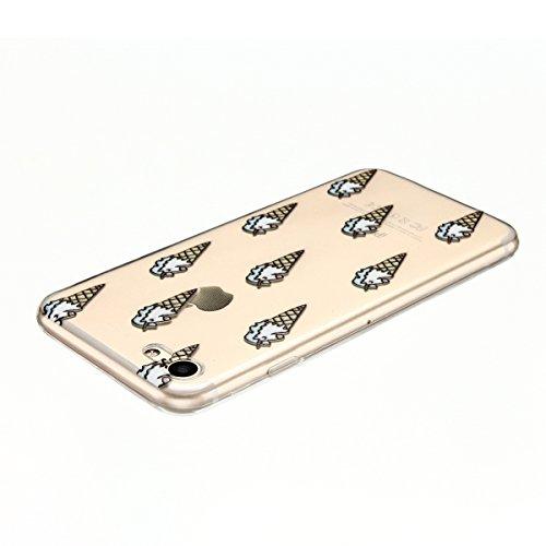 Cover iPhone 7 Custodia iPhone 7 Silicone Anfire Morbido Flessibile TPU Gel Case Cover per Apple iPhone 7 (4.7 Pollici) Ultra Sottile Clear Trasparente 3D Copertura Antiurto Bumper Protettivo Skin Car Gelato