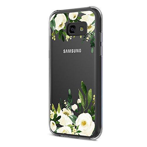 Samsung Galaxy A5 2017 Hülle,Galaxy A5 2017 Schutzhülle Durchsichtig Silikon Silikonhülle Transparent TPU Bumper Schutz Handytasche Handyhülle Schale Case Cover für A5 2017 (Blumen, Galaxy A5 2017)