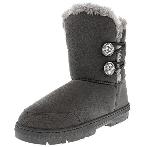 Holly Damen Zwillings-Diamant Taste Kurzes Fell Wasserdicht Winter Regen Schnee Stiefel - Grauer Diamant - UK8/EU41 - AEA0511 (Fell-taste)