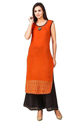 f8e317fb1f2 Sreshee Womens Premium Cotton Designer Kurti with Palazzo Pants Set (Orange