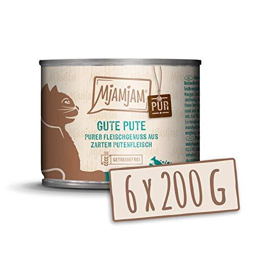 MjAMjAM - Premium Nassfutter für Katzen - purer Fleischgenuss - Gute Pute pur, 6er Pack (6 x 200 g), getreidefrei mit extra viel Fleisch