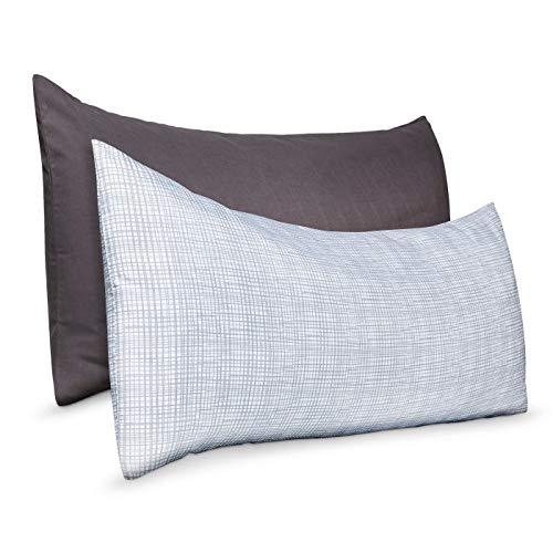 Room Essentials Kissenbezüge, feine Leinen, weich, klassisch, mit Reißverschluss, 50,8 x 127 cm, kariert, 2 Stück - Bett Chateau