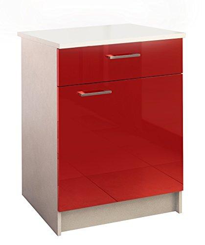Berlioz Creations Bas Meuble de Cuisine 1 Porte + 1 Tiroir, Panneaux de Particules, Rouge, 60 x 60 x 85 cm