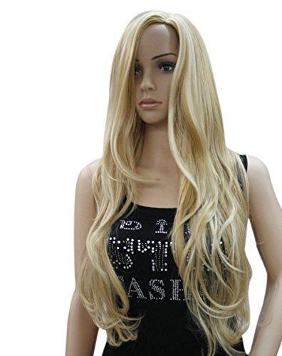 Kalyss, parrucca da donna, capelli lunghi ricci, biondo dorato, resistente al calore, sintetica, di alta qualità, come veri capelli umani