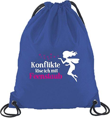 Shirtstreet24, Feenstaub, Fee Fairy Turnbeutel Rucksack Sport Beutel Royal Blau
