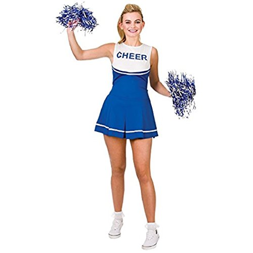 Kostüm Damen Cheerleading - Travelday Damen-Highschool Cheerleader-Abendkleid -Up Party Halloween-Kostüm-Ausstattung (Size XS UK6-8) Blau