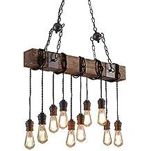Addison Lámpara Colgante Vintage Lámpara Colgante de Madera Altura Ajustable Metal Negro Lámpara Colgante Retro E27