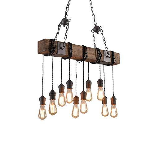 Addison Lámpara Colgante Vintage Lámpara Colgante de Madera Altura Ajustable Metal Negro Lámpara Colgante Retro E27 Lámpara Colgante Loft Industrial Comedor Lámpara de Comedor Lámpara, 10 Llamas
