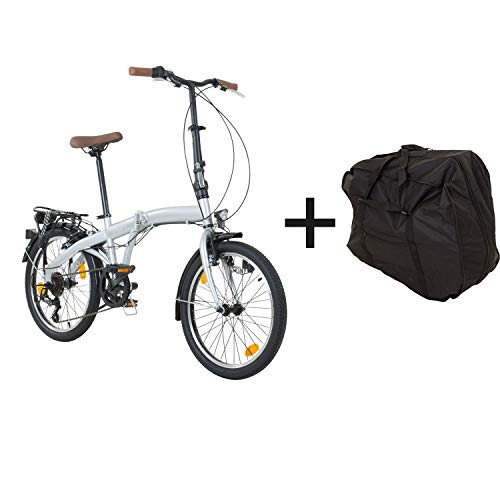 Klapprad mit Tasche Faltrad Klapp Fahrrad Camping Shimano 6-Gang (Silber)