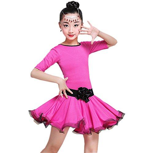 chen Elegante Tanzkleidung Tango Latein Tanzkleid Übung Wettbewerb Performances Kostüm, Rose Rot/150 (20 Halloween Kostüm Ideen)